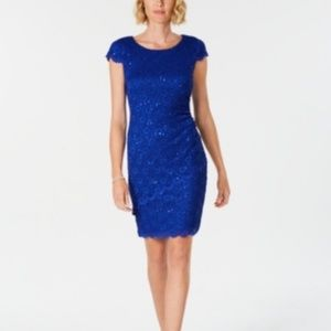 Connected  Sequined Lace Sheath Dress Cobalt